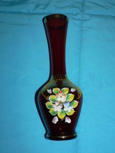Antique-Vintage-Bohemian-Ruby-Red-Vase-Czech-Glass-Flower-Hand-Painted-Gold-Gilt