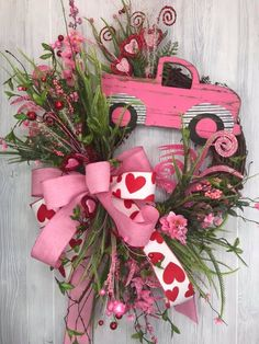 Happy Valentine's Day. This beautiful Farmhouse Valentine's Day wreath makes the perfect front door decor. Don't you just love that truck and pink heart. Check out more DIY craft supplies are on our Etsy store or see them on our website Funny Valentine, Roses Valentine, Valentine Day Wreaths, Valentines Day Decorations, Valentine Day Crafts, Holiday Wreaths, Happy Valentines Day, Holiday Crafts, Valentine Ideas