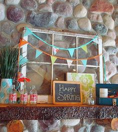 Living Room: Stone Walls Decorated With Flags For Fresh Spring ...