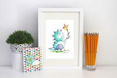 Dinosaur Print. Cute Dino. Kite. Childrens Print. Nursery Print. Children's wall Art. Dinosaurs. Personalised Print. by SueRocheIllustration on Etsy https://www.etsy.com/listing/224426988/dinosaur-print-cute-dino-kite-childrens