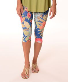 Loving this Blue & Pink Tropical Capri Leggings on #zulily! #zulilyfinds