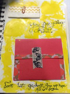"""""""You're golden, child."""" Acrylic paint, washi tape, card stock, and India ink. Inside the envelope there's a golden paper crane, and the paper clipped note is a brief history of the paper crane."""