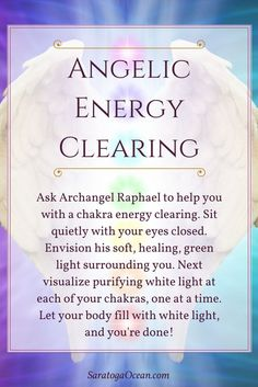 Here's a lovely way to feel refreshed: Clear your chakras with the help of Archangel Raphael, the angel of healing. Take as long or as short of a time with this as you need to purify your chakras and clear your energy. ♥️ ♥️ ♥️ If you enjoy meditating with your angels or you would like help connecting with their energy, download my free, guided Peaceful Angel Meditation, available on the following page: https://saratogaocean.com/angels/