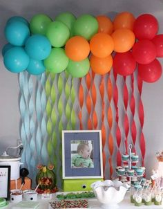 party balloons are so timely for baby showers. Create your own balloon backdrop using the color of your choice <3