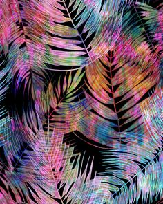 Waikiki Tropic {Black} Art Print by SchatziBrown #pattern #tropics #tropical