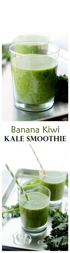 Combined with bananas, kiwi, coconut milk and honey, this Kale Smoothie is surprisingly delicious and SO good for you! (Coconut or almond milk) #paleo #grainfree #glutenfree
