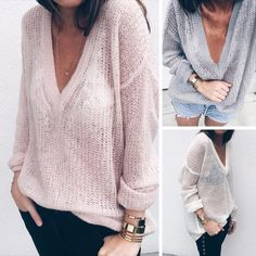 Trendy V Neck Loose Pullover Sweater