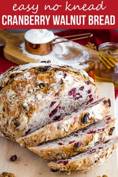 - This No-Knead Cranberry Honey Walnut Artisan Bread is a delicious sweet bakery-style bread that's perfect for the holidays! Make it perfect with my easy pro tips for homemade bakery-style bread! Breakfast Bread Recipes, Easy Bread Recipes, Cooking Recipes, Loaf Recipes, Fluffy Bread Recipe, Cranberry Walnut Bread, Homemade Brioche, Sweet Bakery, Pizza