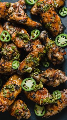 Grilled Chimichurri Chicken Wings Hungry AF-Add a tasty, spicy kick to your party spread with these zesty chimichurri chicken wings. Grilled Chicken Wings, Grilled Chicken Recipes, Chicken Wing Recipes, Chicken Wings Grill Recipe, Chicken Wing Sides, Spicy Chicken Marinades, Chicken Wing Marinade, Chicken Bar, Jerk Chicken Wings
