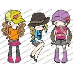 """Introducing """"Miss Anya Hats Off"""", this 4""""x6"""" sheet has 3 Miss Anya Stamps from The Greeting Farm. Sit back and relax with Miss Anya. She is dressed up in her most comfy clothes and boots."""