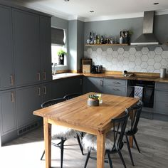 Shown with on-trend copper handles, the Newbury Grey is bound to make the kitchen the main talking point of your home. Thanks for sending the great photo Jess! Copper Handles, Kitchen Units, Kitchen Ideas, Magnets, The Unit, Cabinet, Table, House, Furniture