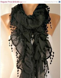 BIG SALE Black  Ruffle Cotton Scarf   by anils