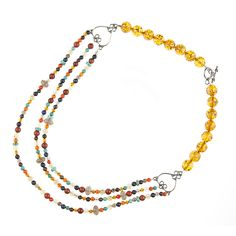 multi strand resin, gemstone mix and sterling silver necklace