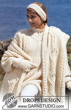 Free Pattern: 27-6 Long sweater, shawl, mittens and head band in moss stitch and cables