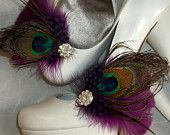 Bridal Shoe Clips - Purple Plum Feathers, Peacock Shoe Clips, Feathered Shoe Clips, Wedding Shoe Clips