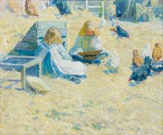 Helen McNicoll, The Farmyard, c. 1908, oil on canvas, 71 x 85.5 cm, New Brunswick Museum, Saint John. McNicoll donated this painting to the Canadian Patriotic Fund to raise funds for the war effort; it was purchased by the Saint John Art Club in 1915. #ArtCanInstitute #CanadianArt