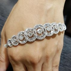 Best Diamond Bracelets : Pair two stunning diamond shapes round and baguette for one elegant design whe Silver Bangles, Sterling Silver Bracelets, Diamond Bracelets, Bangle Bracelets, Bracelet Set, The Bling Ring, Bracelets With Meaning, Accesorios Casual, Bracelets
