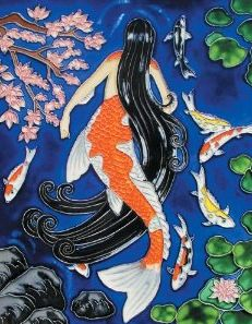 mermaidgardenornaments.com - Mermaid Art Tiles  Japanese Mermaid