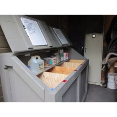 """""""excellent design for a feed container... compartmented for 4 kinds of feed, a top shelf for supplements and white boards attached to the doors with…"""""""