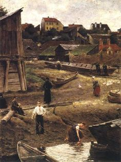 Warsaw, died 1901 In mental hospital in Rome. Painter of poor people's life of Warsaw old town- Powisle. Classic Paintings, Great Paintings, Old Paintings, Drawing Artist, Painting & Drawing, Nocturne, Warsaw Old Town, Classical Art, Baltic Sea
