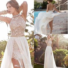 2015 Lace Applique Chiffon Short Prom Dresses Halter Beaded Crystals Side Slit Backless Evening Gowns Summer Beach Wedding Dresses BG50232 Online with $71.21/Piece on Bridal_gowns's Store | DHgate.com