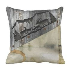 3D Rustic Wood Carved & Print Pattern 'Deer' Throw Pillow - country gifts style diy gift ideas
