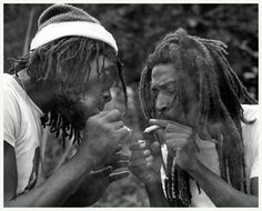 *Peter Tosh* & Bunny Wailer. Hectors River, Portland, Jamaica, 1978. On Bunny's farm. More fantastic pictures and videos of *The Wailers* on: https://de.pinterest.com/ReggaeHeart/ ©Adrian Boot/ urbanimage.tv