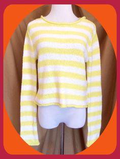 Free People Stripped Yellow White Cropped Long Sleeve Sweater Size Medium New | eBay