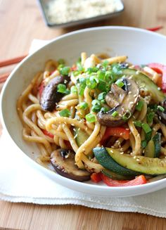 Korean Stir-fried Udon Noodles with Summer Vegetables (Vegetarian) @SeasonWithSpice
