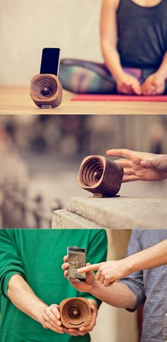 A wooden amplifier for smartphones that looks and sounds good.