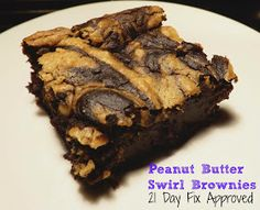21 Day Fix Approved Chocolate Peanut Butter Swirl Brownies