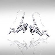 Scuba Sport Diver Silver Earrings TE968 - The adventurous scuba diver is celebrated in the Scuba Sport Diver Silver Earrings.  Meticulously crafted from fine sterling silver, you can take the excitement of scuba diving with you wherever you go with the Scuba Sport Diver Silver Earrings.