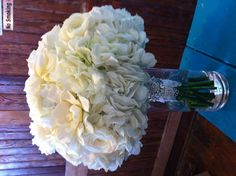 romantic white bouquet with lace wrap and bling !