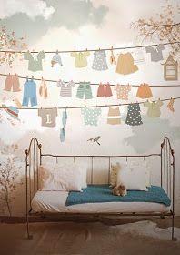 little hands: Little Hands Wallpaper Mural - Drying Clothes