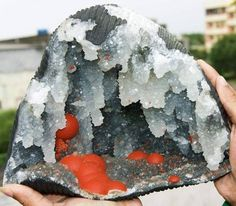 Fluorine Botroidale red in Quartz Geode of Mahodari Mine, Nasik, Maharashtra, India (private collection)  Geology Wonders