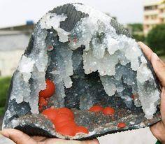 Fluorine Botroidale red in Quartz Geode of Mahodari Mine, Nasik, Maharashtra, India (private collection) Geology Wonders