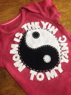 Custom Yin/Yang onesie by PetalandTwigFelt on Etsy