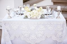 I like the lace overlay. Maybe do this for the head table.