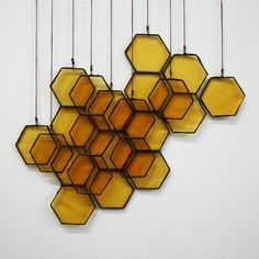 Wall Decor inspiration (via Stained Glass Honeycomb Drops on Etsy) Motif Hexagonal, Deco Luminaire, Suncatcher, Bees Knees, Home And Deco, Mellow Yellow, Bee Keeping, My New Room, Sweet Home