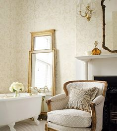 Thibaut Wallpaper - style: Residence Collection - style: Shivonne - color: Pearl on Off White White Interior Design, Interior Decorating, Foyer Wallpaper, Wallpaper Ideas, English Country Style, Traditional House, American Traditional, Traditional Decor, Beautiful Bathrooms