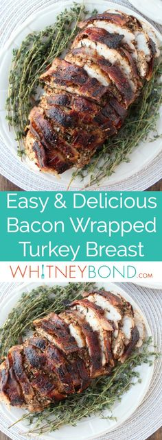 This bacon wrapped turkey breast is covered in a balsamic garlic herb rub then wrapped in a bacon weave for a flavorful, juicy turkey recipe.