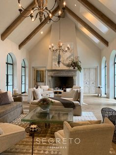 Architectural Consultant Sarah West What's Segreto Up to This Spring? Vaulted Living Rooms, Home Living Room, Living Spaces, Architectural Consultant, Little White House, Home Design Floor Plans, Elegant Homes, Rustic Elegant Home, Great Rooms