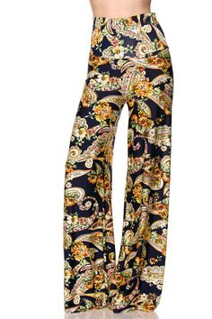 High Waist Fold Over Wide Leg Gaucho Palazzo Pants (Navy Golden Paisle – Niobe Clothing