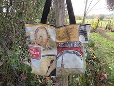 grand sac cabas, fourre-tout, tote-bag doublé, noir, rouge, jaune, multicolore : Autres sacs par la-cabane-de-perianne