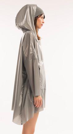 Grey PVC Hooded Raincoat