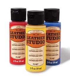 Super awesome leather and vinyl paint to #DIY fashion projects like shoes, bags, and more - new Leather Studio™ from #plaidcrafts, available in select @joannstores