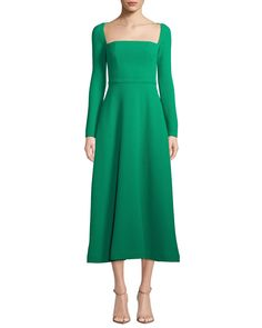 Long-Sleeve Square-Neck Stretch Wool Dress by Lela Rose at Neiman Marcus Lela Rose, Couture Mode, Couture Fashion, Women's Fashion, Fall Dresses, Short Dresses, Wedding Dresses, Neck Stretches, Wool Dress