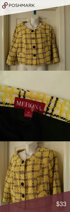 Nwot Merona XL blazer 3/4 sleeve yellow black Perfect condition this is XL tagged 100% polyester lining shell all around   pit to pit bust flat 22 inches  vertical length 19 inches  3/4 sleeves with 4 big black round buttons, there's no pockets there detailed slits on the front for detail and look but no real pockets there  this is from the merona collection Tabatha blazer from target, this I'd their higher end brand also there business casual career line of clothing very fun flirty vibrant…