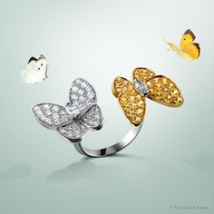 Van Cleef & Arpels Two Butterfly Between the Finger Ring set in white and yellow gold, diamonds, yellow sapphires #VCAspring