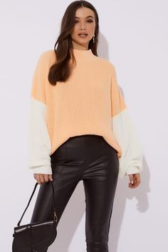 f3aaeeeb93808 Lorna Luxe 'sunday Sundae' Apricot Jumper | In The Style Jumper, Turtle Neck
